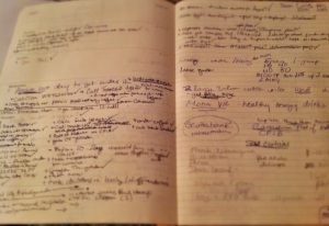 A page from my planner during the time I ran a cafe. Filled with copious notes.